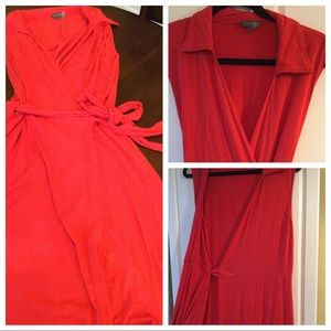 Vince Camuto Red Wrap Dress Collared Sleeveless